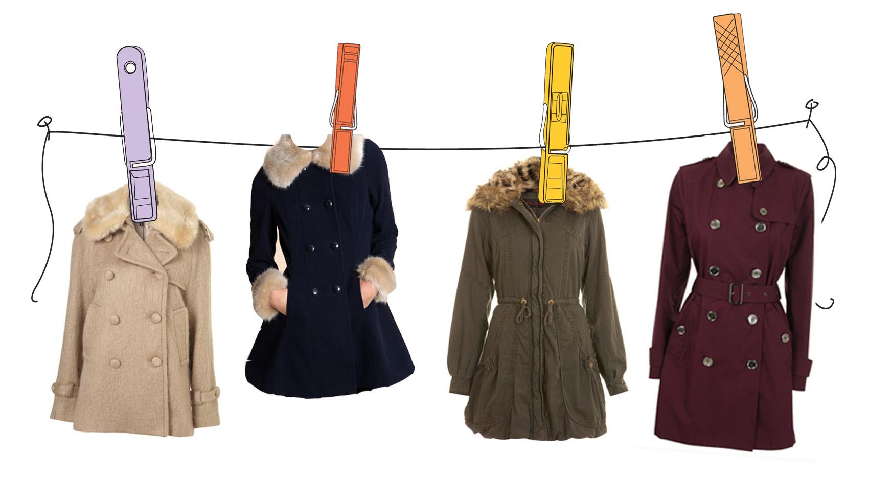 4 пальто на прищепках