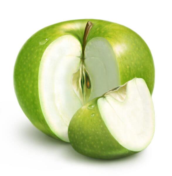 Разрезанная долька яблока